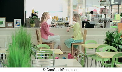 Girls Chatting - Side view of two blond girls facing each...