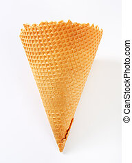 Waffle cornet on white background
