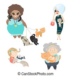 Funny cats with their owners Vector flat illustration
