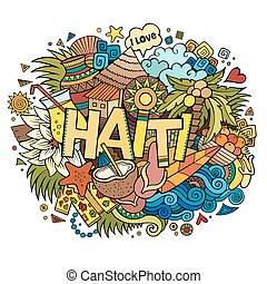 Haiti hand lettering and doodles elements and symbols...
