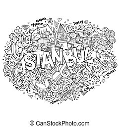 Istanbul city hand lettering and doodles elements and...