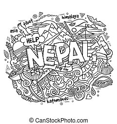Nepal country hand lettering and doodles elements and...