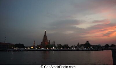 twilight of Bangkok skyline - Wat Arun at Sunset, Temple of...