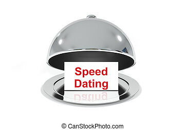 silver cloche with white sign speed dating - opened silver...