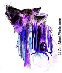 Abstract Wolf Sketch - Grunge sketch of an abstract wolf,...