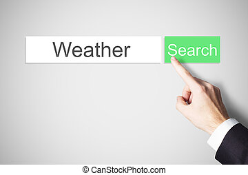 finger pushing green web search button weather -...