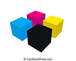 CMYK cubes illustration