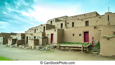 Morning in Taos Pueblo - The multi-storied adobe buildings...