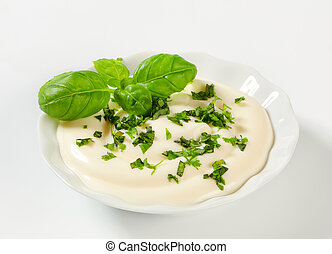 Creamy dipping sauce with parsley