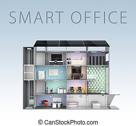 Smart office concept Energy support by solar panel, storage...