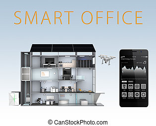 Smart office and smartphone isolated on blue background. The...