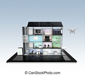 Smart office building concept model on a tablet PC Energy...