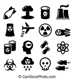 Nuclear weapon, nuclear factory - Nuclear power plant vector...