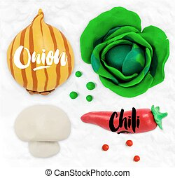Plasticine vegetables onion - Plasticine modeling vegetables...
