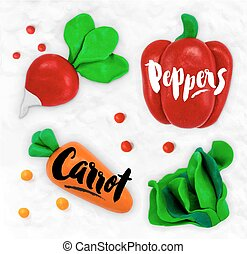 Plasticine vegetables carrot - Plasticine modeling...