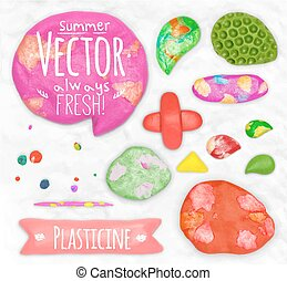 Set of plasticine sings - Set of vector plasticine design...