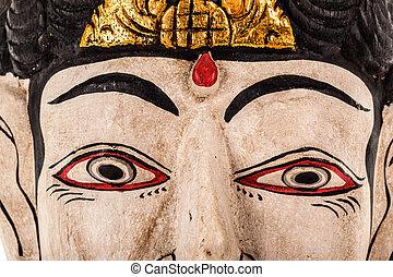 Indonesian mask closeup