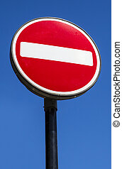 No Entry Sign - A No Entry sign with a clear blue sky behind...