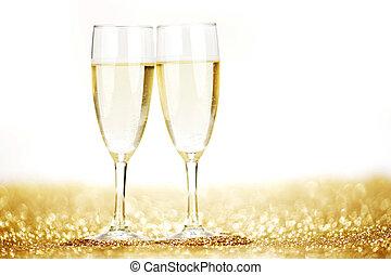 par, de, champaña, Flautas,