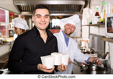 Customer buys fastfood - Portrait of happy customer, chef...