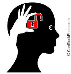 Unlock your Brain - Concept sign of a woman who can make...