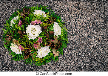 wreath decoration - floral wreath decoration lying on the...