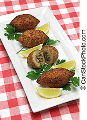 kibbeh, middle eastern food - fried croquette with bulgur...