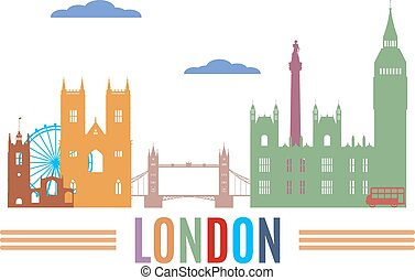 London skyline Colored silhouettes of famous buildings