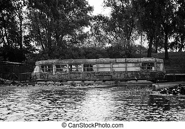 Old tram in the water