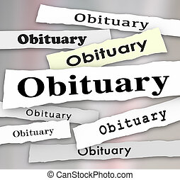 Obituary Newspaper Headline Death Notice Memorial - Obituary...