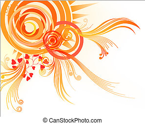 flower pattern and circle - illustration drawing of orange...