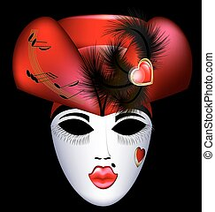 carnival mask in red hat - dark background and the large...