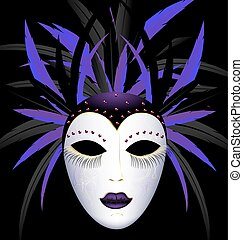carnival purple dark mask - dark background and the large...