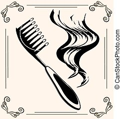vintage hairbrush - black outlines of womans hair and...