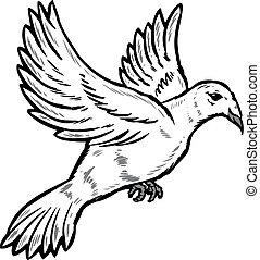 Dove in flight illustration Vector format fully editable