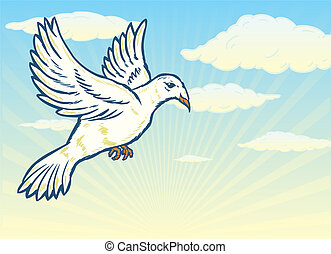Dove in flight against a bright blue sky illustration....
