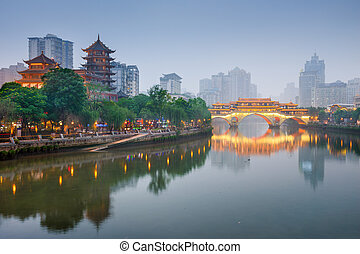 Chengdu cityscape - Chengdu, Sichuan, China at Anshun Bridge...