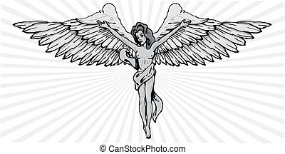 Female angel in a crucifix pose vector illustration