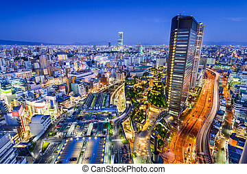 Namba District of Osaka, Japan - Osaka, Japan city skyline...