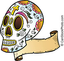 Festival Skull tattoo style illustration All parts are...