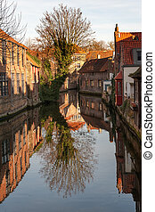 Historic Bruges - Typical houses around Dijver canal in...