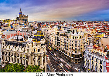 Madrid Cityscape - Madrid, Spain cityscape above Gran Via...