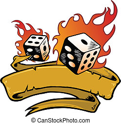 Flaming dice banner vector illustration. Fully editable