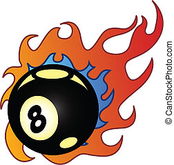 Flaming Eightball vector illustration