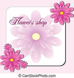 Pink Flower shop - Visit card or flyer for flower shop or...