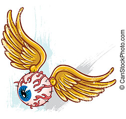 Hand drawn punk style flying eyeball with wings vector illustration all parts are seperate and fully editable