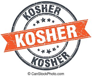 kosher round orange grungy vintage isolated stamp
