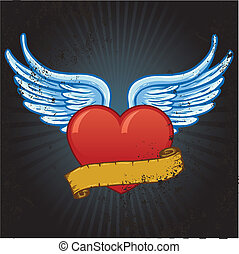 Heart with wings and banner vector illustration
