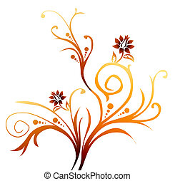 flower and vine - illustration drawing of flower and vine in...