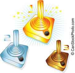 Gold Silver and Bronze gamers joysticks vector illustrations...